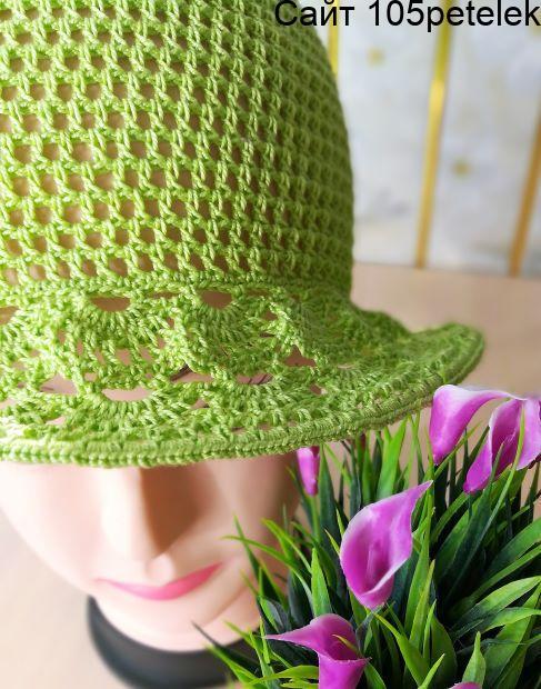 Связать шляпу крючком для девочки 4-6 лет