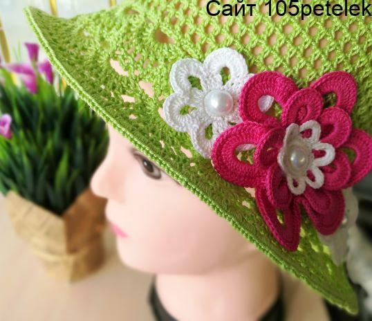 Связать шляпу для девочки крючком 4-6 лет