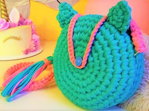 Круглая сумка из трикотажной пряжи, для девочки