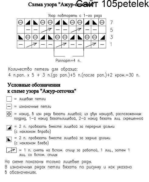 Сеточка крючком схема и описание