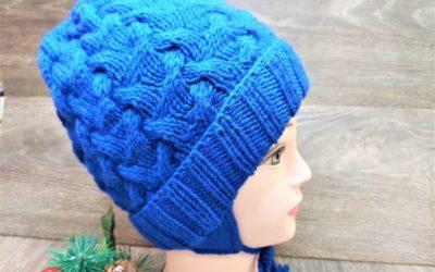 Вязаная детская шапка спицами с ушками